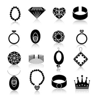 Zestaw ikon biżuterii czarny