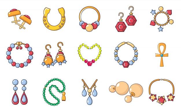 Zestaw ikon biżuterii. kreskówka zestaw ikon wektorowych jewerly zestaw na białym tle
