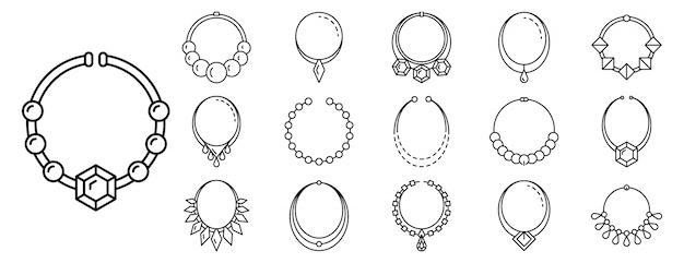 Zestaw ikon biżuterii naszyjnik, styl konspektu
