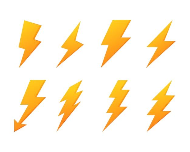 Zestaw ikon błyskawicy błyskawicy. energia elektryczna. żółty grzmot na białym tle