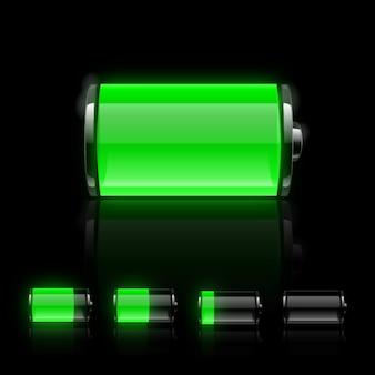Zestaw ikon błyszczący baterii