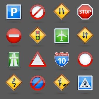 Zestaw ikon błyszczący znaków drogowych