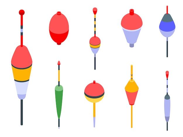 Zestaw ikon bobber, izometryczny styl