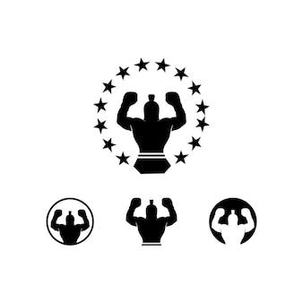 Zestaw ikon boksu i symbol ilustracji boksera wojownika