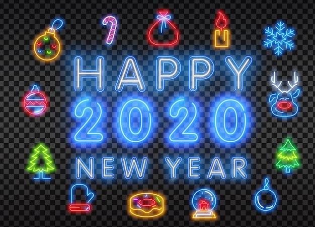 Zestaw ikon boże narodzenie i nowy rok z efektem neon