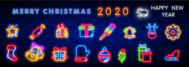 Zestaw ikon bożego narodzenia neon. wesołych świąt i szczęśliwego nowego roku.