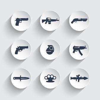 Zestaw ikon broni, pistolet, pistolety, karabin, rewolwer, strzelba, granat, nóż, wyrzutnia rakiet, broń palna, materiały wybuchowe
