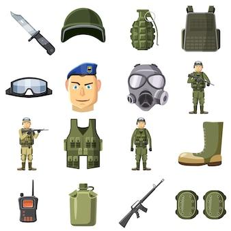 Zestaw ikon broni wojskowej, stylu cartoon