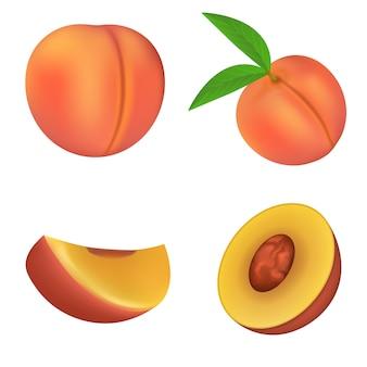 Zestaw ikon brzoskwini, realistyczny styl