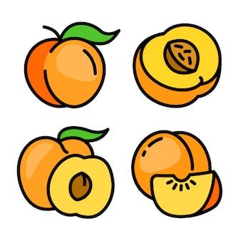 Zestaw ikon brzoskwini, styl konturu