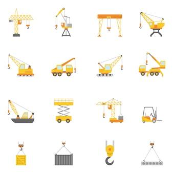 Zestaw ikon budowlanych żurawia płaskie ikony