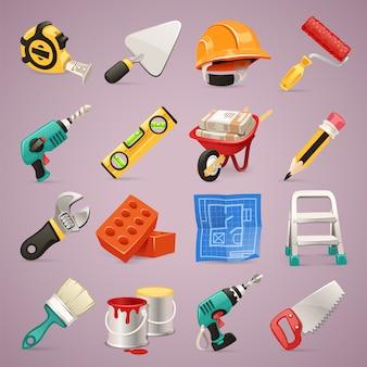 Zestaw ikon budowlanych