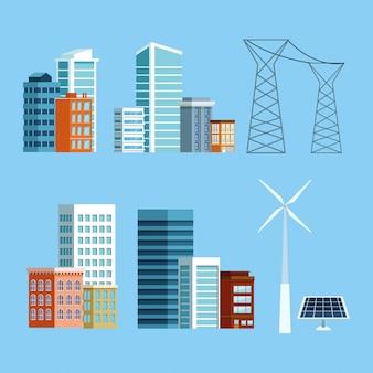 Zestaw ikon budynków i miasta