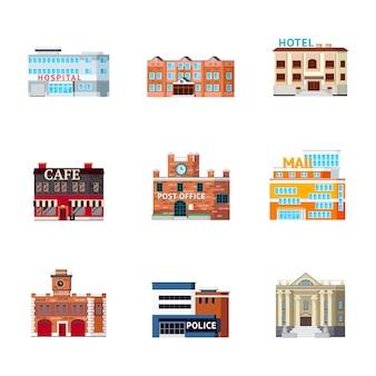 Zestaw ikon budynków miejskich