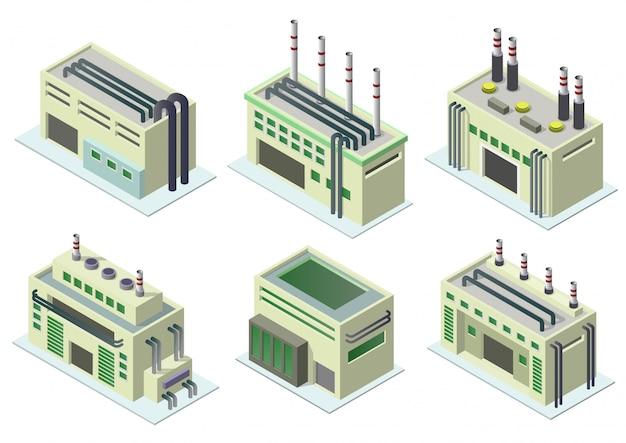 Zestaw ikon budynków przemysłowych.