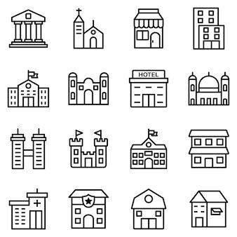 Zestaw ikon budynków, z ikoną stylu konturu