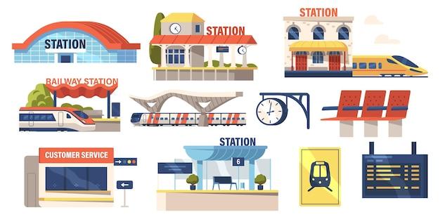 Zestaw ikon budynku dworca kolejowego, plastikowe siedzenia, pociąg elektryczny, platforma, stoisko obsługi klienta i cyfrowy wyświetlacz harmonogramu, zegar na białym tle. ilustracja kreskówka wektor
