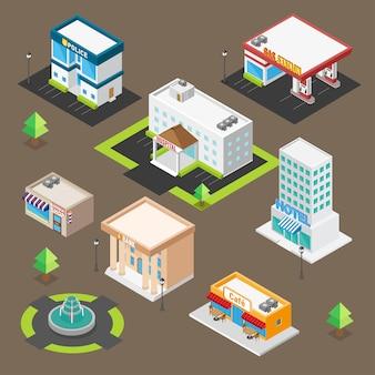 Zestaw ikon budynku izometryczny dla niestandardowej mapy