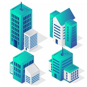 Zestaw ikon budynku izometryczny