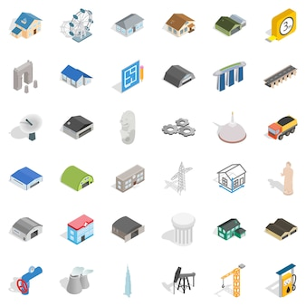 Zestaw ikon budynku, styl izometryczny