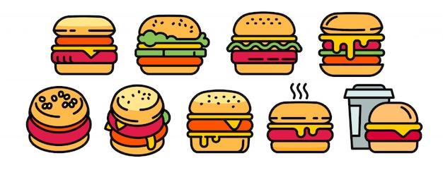 Zestaw ikon burger, styl konturu