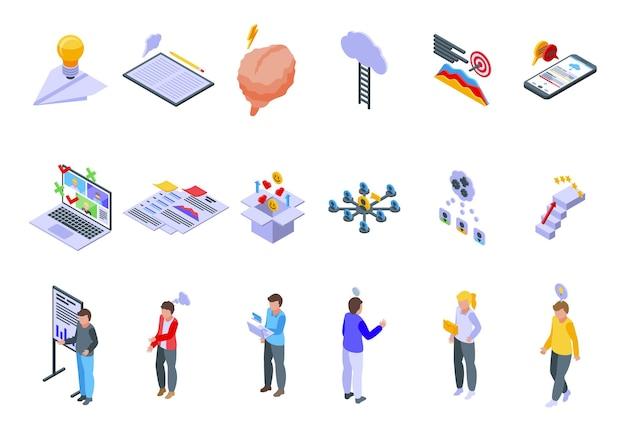 Zestaw ikon burzy mózgów. izometryczny zestaw ikon wektorowych burzy mózgów do projektowania stron internetowych na białym tle