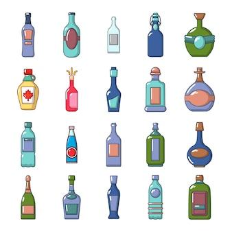 Zestaw ikon butelek alkoholu. kreskówka ustawiająca alkohol butelki ikon wektorowa kolekcja odizolowywająca