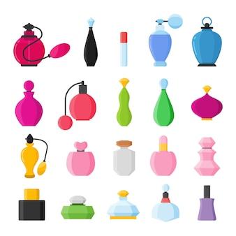 Zestaw ikon butelek perfum na białej ilustracji