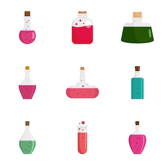 Zestaw ikon butelki magii mikstury, płaski