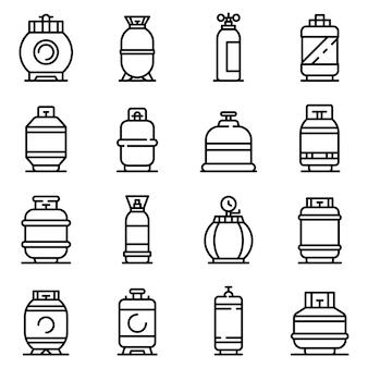 Zestaw ikon butli z gazem