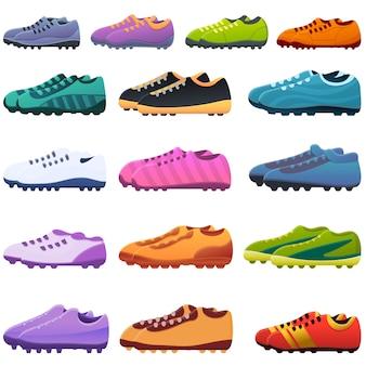 Zestaw ikon butów piłkarskich. kreskówka zestaw ikon wektorowych butów piłkarskich