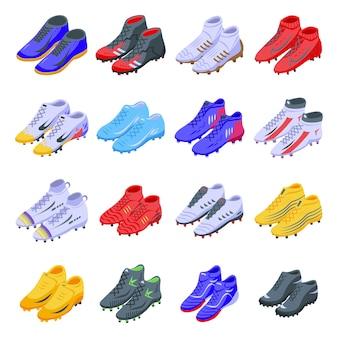 Zestaw ikon butów piłkarskich.