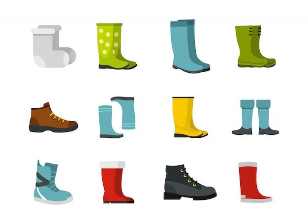 Zestaw ikon butów. płaski zestaw butów wektor zbiory ikony na białym tle
