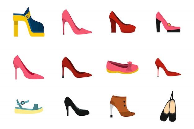 Zestaw ikon buty kobieta. płaski zestaw kobieta buty wektor zbiory ikon na białym tle