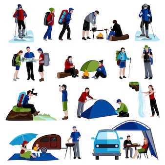 Zestaw ikon camping i ludzie