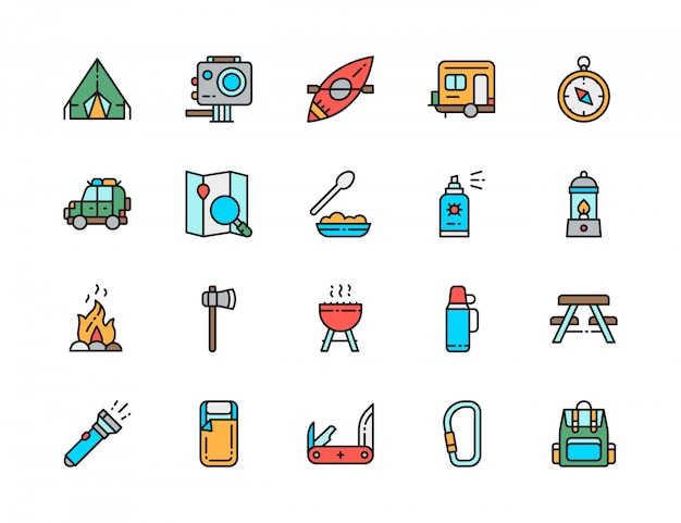 Zestaw ikon camping płaski kolor linii. grill, kajak, przyczepa