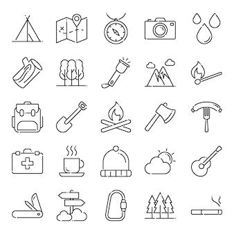 Zestaw ikon camping, z ikoną stylu konturu