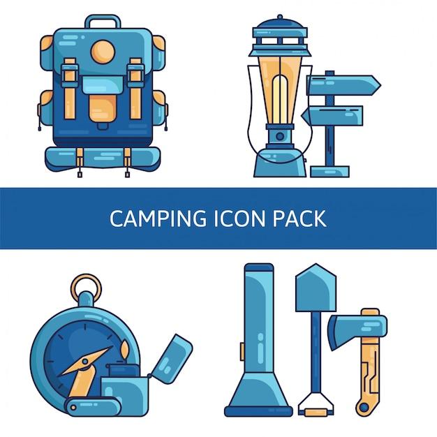 Zestaw ikon camping