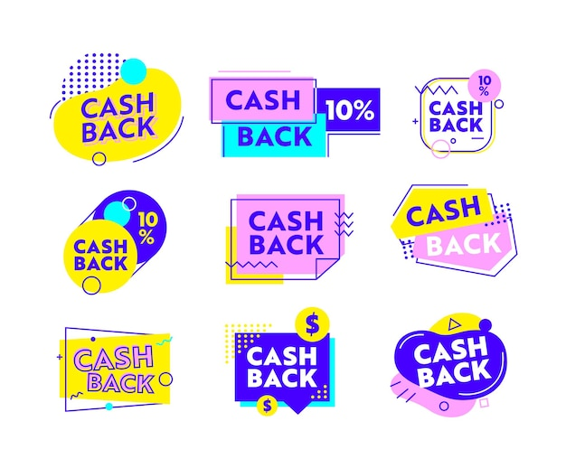 Zestaw ikon cash back lub banery z abstrakcyjnymi kształtami geometrycznymi i liniami. oferta zwrotu gotówki z symbolami liniowymi i typografią. plakat reklamowy, godło, zwrot pieniędzy na białym tle ilustracja wektorowa
