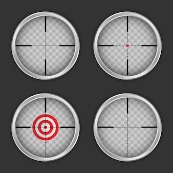 Zestaw ikon celownika, realistyczny styl