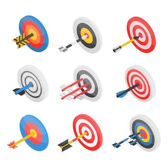 Zestaw ikon celu. izometryczny zestaw ikon wektorowych cel na projektowanie stron internetowych na białym tle