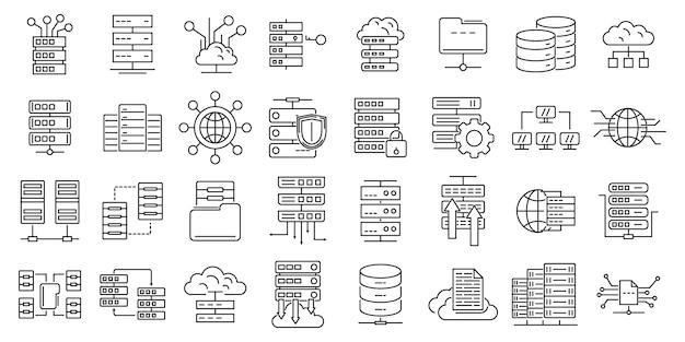 Zestaw ikon centrum danych