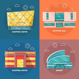 Zestaw ikon centrum handlowego w płaskiej konstrukcji