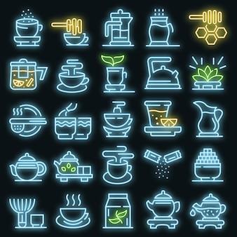 Zestaw ikon ceremonii parzenia herbaty. zarys zestaw ikon ceremonii parzenia herbaty wektor neon kolor na czarno