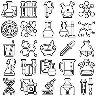 Zestaw ikon chemii, styl konspektu