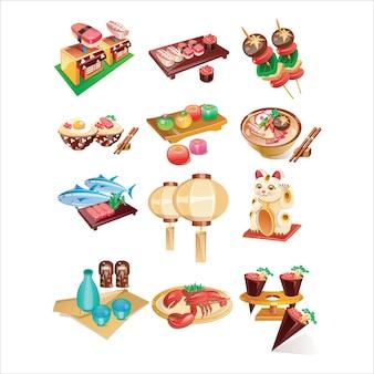 Zestaw ikon chińskie jedzenie