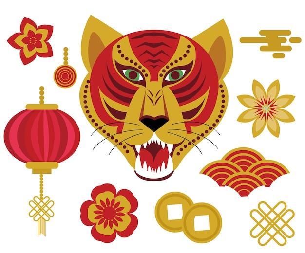 Zestaw ikon chińskiego horoskopu 2022 roku tygrysa. kolekcja chińskiego nowego roku elementów projektu z tygrysem, papierową latarnią, chmurami, kwiatami. clipartów ilustracji wektorowych.