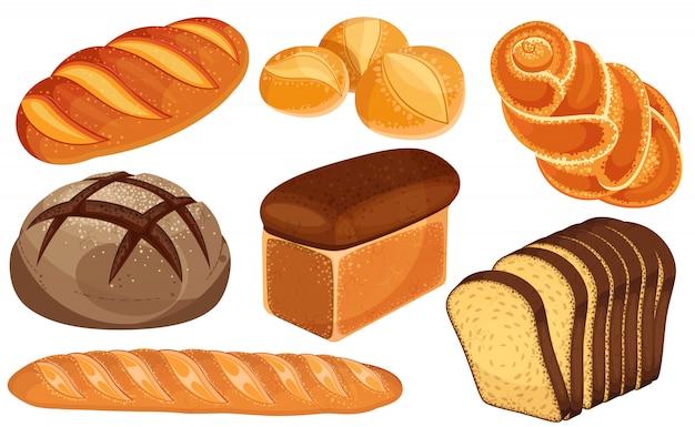 Zestaw ikon chleba. długi bochenek, chleb żytni, bagietka, bułki, biały chleb, chleb krojony, bułka bułkowa.