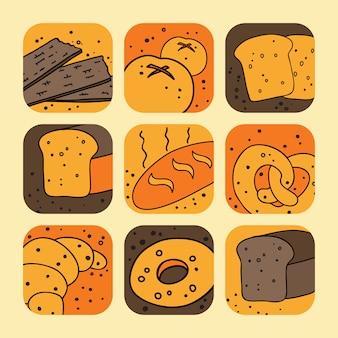 Zestaw ikon chleba