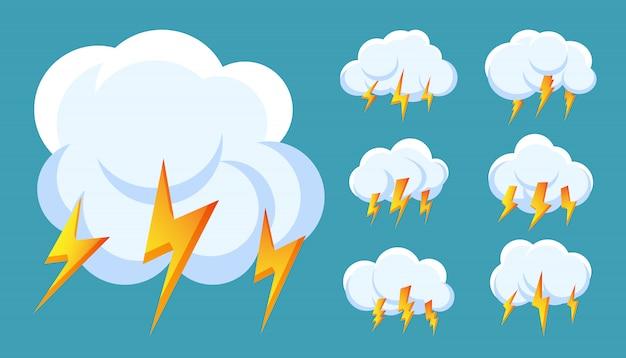Zestaw ikon chmura błyskawica burza z piorunami. zarejestruj burzę, grzmot i uderzenie pioruna.